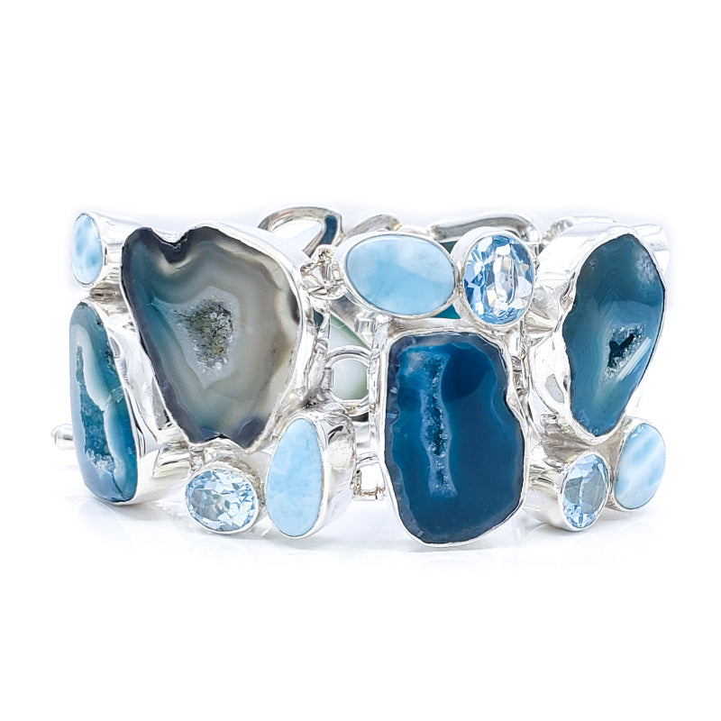 Seafoam Agate Sterling Silver Bracelet with Larimar and Blue Topaz