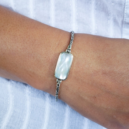 Rectangular White Mother of Pearl Bracelet with Handmade Byzantine Chain