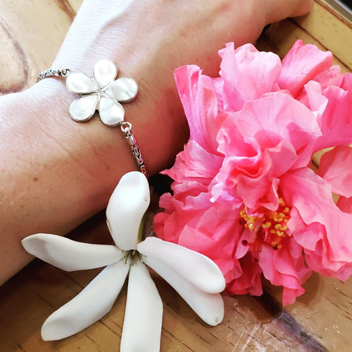 Fancy Plumeria Flower Bracelet with White Mother of Pearl