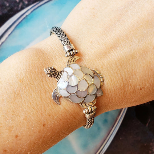 Sterling Silver Turtle Bracelet with White Mother of Pearl