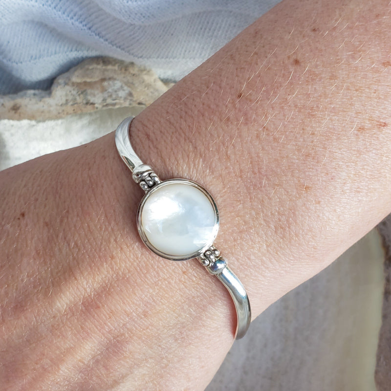 White Mother of Pearl Bracelet with Wavy Sterling Silver Band