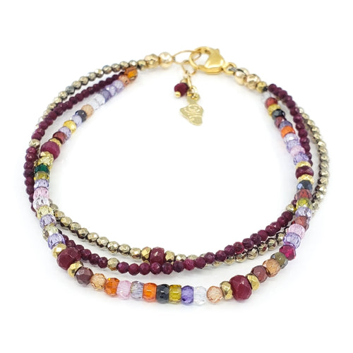 Multi Gemstones Bracelet with Ruby and Pyrite