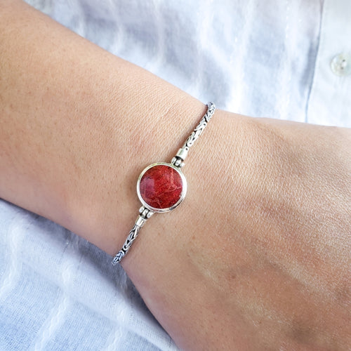 Round Red Coral Bracelet with Handmade Byzantine Chain