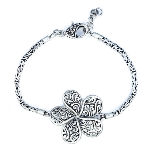 Ornate Plumeria Flower Bracelet