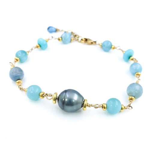 Larimar, Amazonite & Chalcedony Bracelet with 10mm Gray Tahitian Pearl