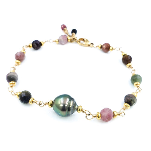 Watermelon Tourmaline Bracelet with 9mm Peacock Tahitian Pearl