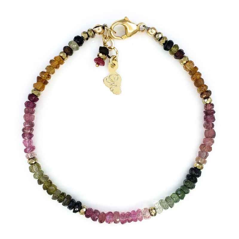 Watermelon Tourmaline Gold Bracelet
