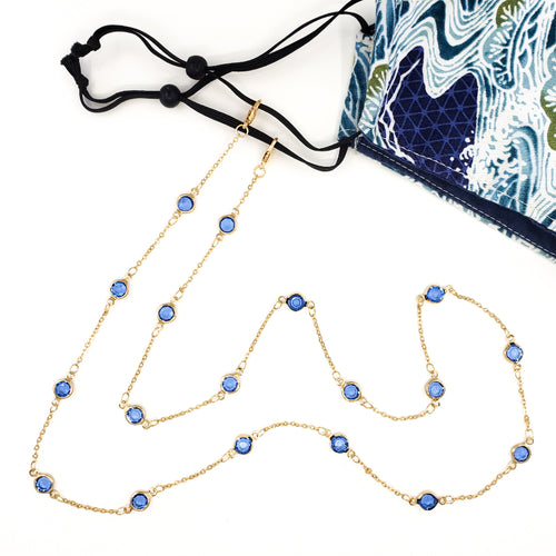 Gold Mask and Glasses Chain with Blue Crystals