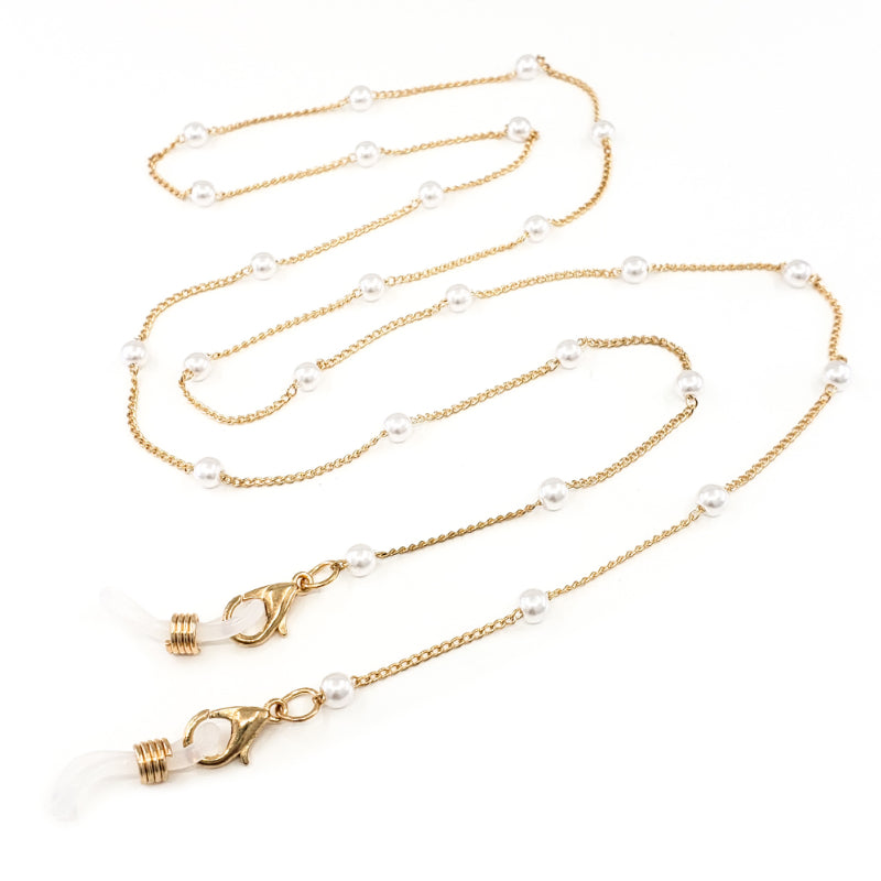 Gold Mask and Glasses Chain with Small White Pearls