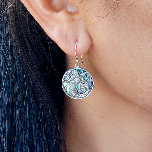 Round Sterling Silver Mermaid Earrings with Abalone Shell