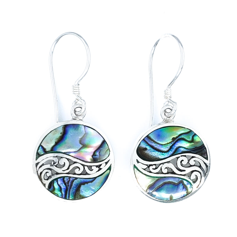 Small Round Abalone Earrings with Filigreed Sterling Silver Waves