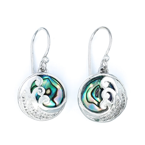 Delicate Wave Earrings with Abalone and Cubic Zirconia