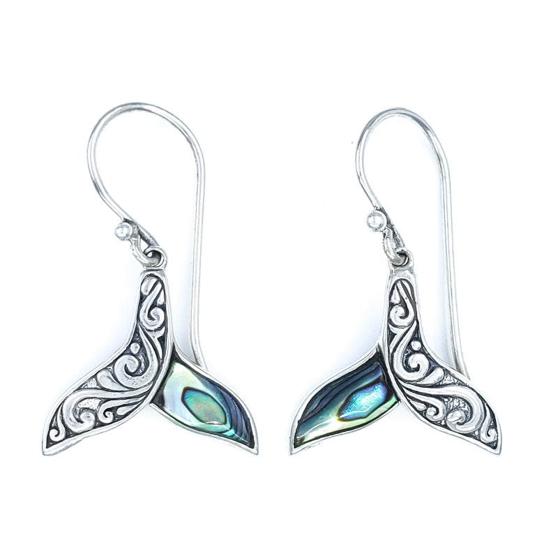 Ornate Silver Whale Tail Earrings with Abalone