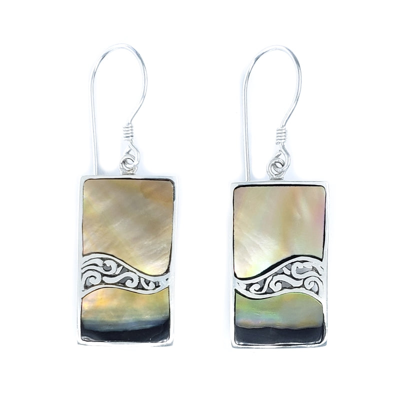Rectangular Sunset Shell Earrings with Filigreed Sterling Silver Waves