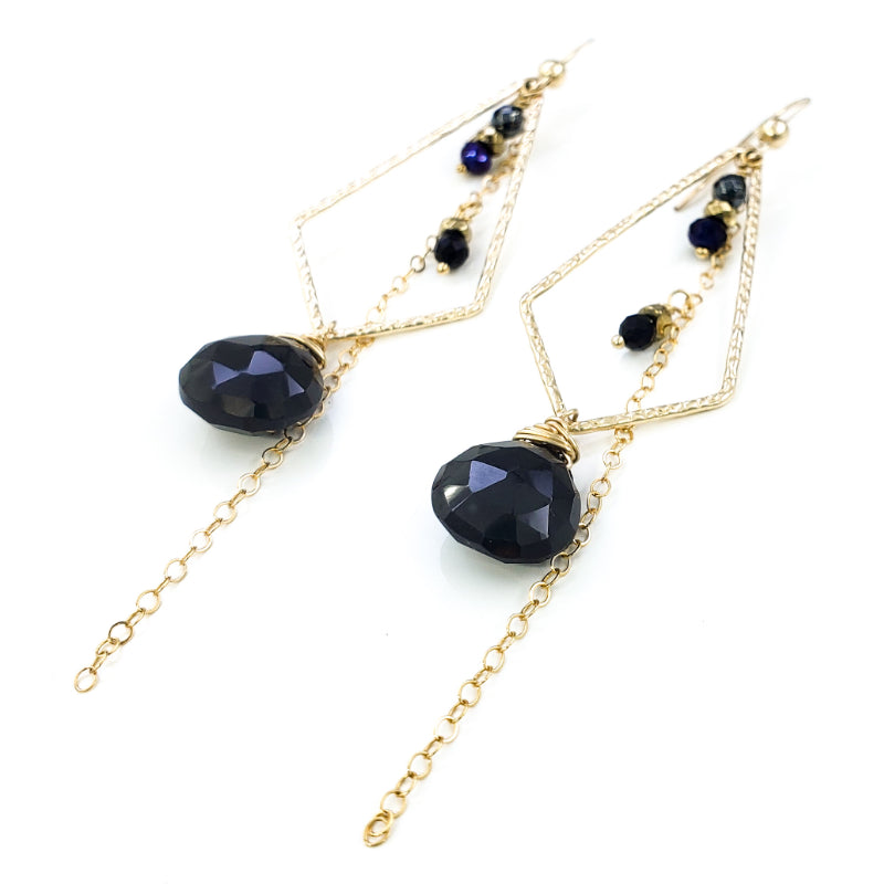 Long Textured Gold Earrings with Black Spinel