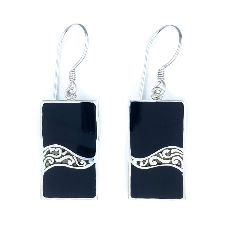 Rectangular Black Shell Earrings with Filigreed Sterling Silver Waves