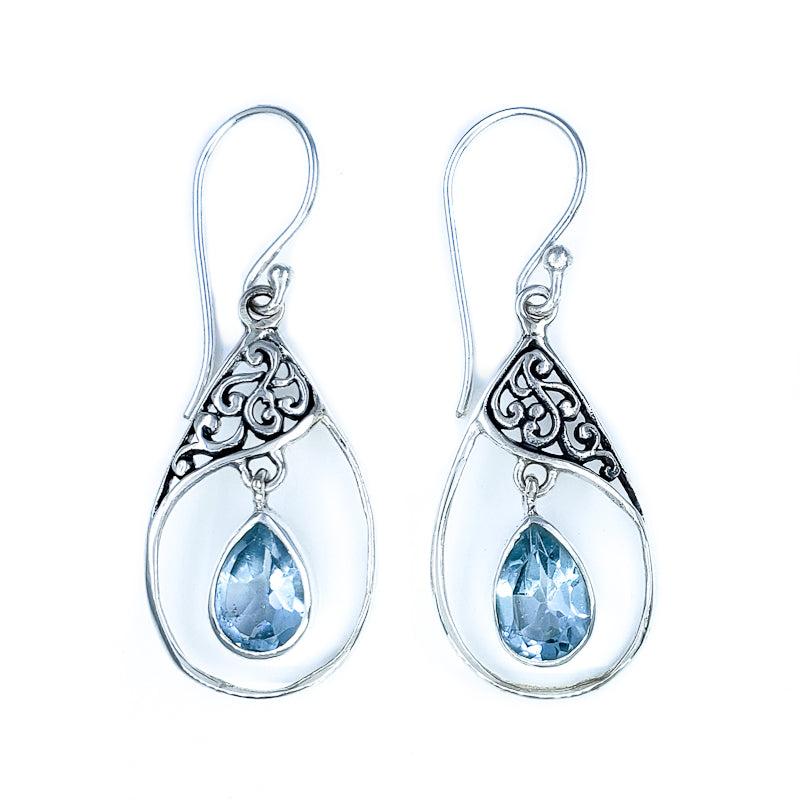 Droplet Blue Topaz Earrings with Filigree