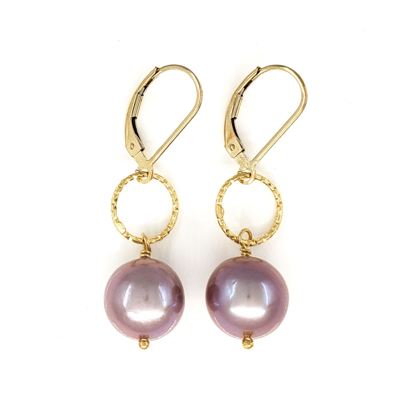 10mm Lavender Edison Pearl Gold Earrings