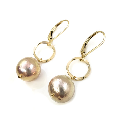 11mm Pink Edison Pearl Earrings with Round Hammered Gold Ring