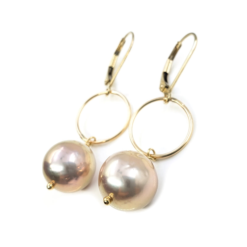 11mm Pink Edison Pearl Earrings With Round Gold Ring