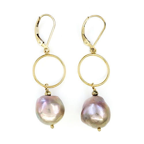 Pink Fireball Pearl Gold Earrings
