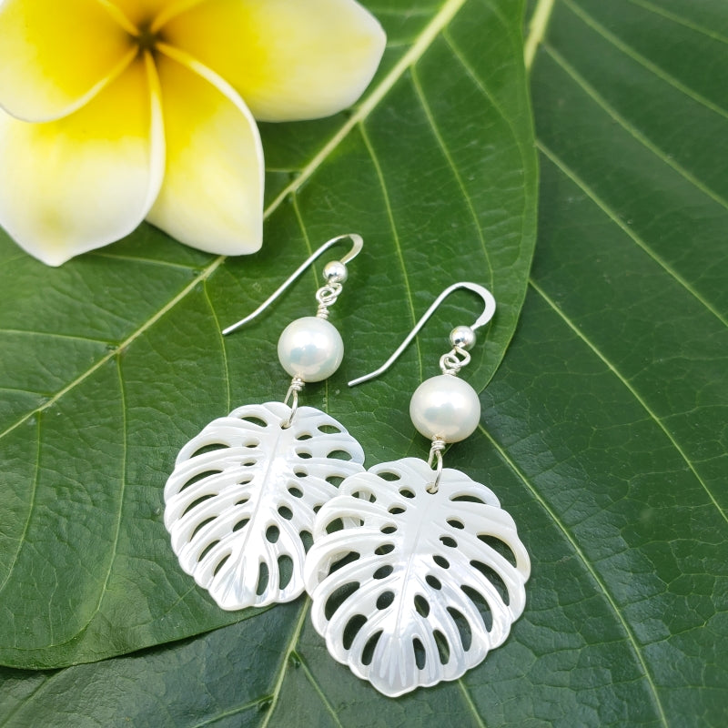 White Mother of Pearl Monstera Leaf Earrings with White Freshwater Pearls