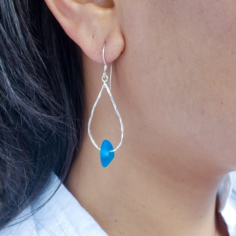 Hammered Droplet Earrings with Azure Glass Beads