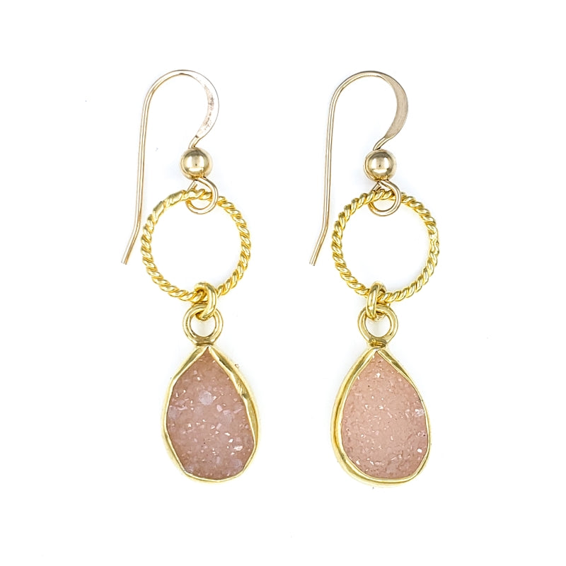 Pink Druzy Gold Earrings