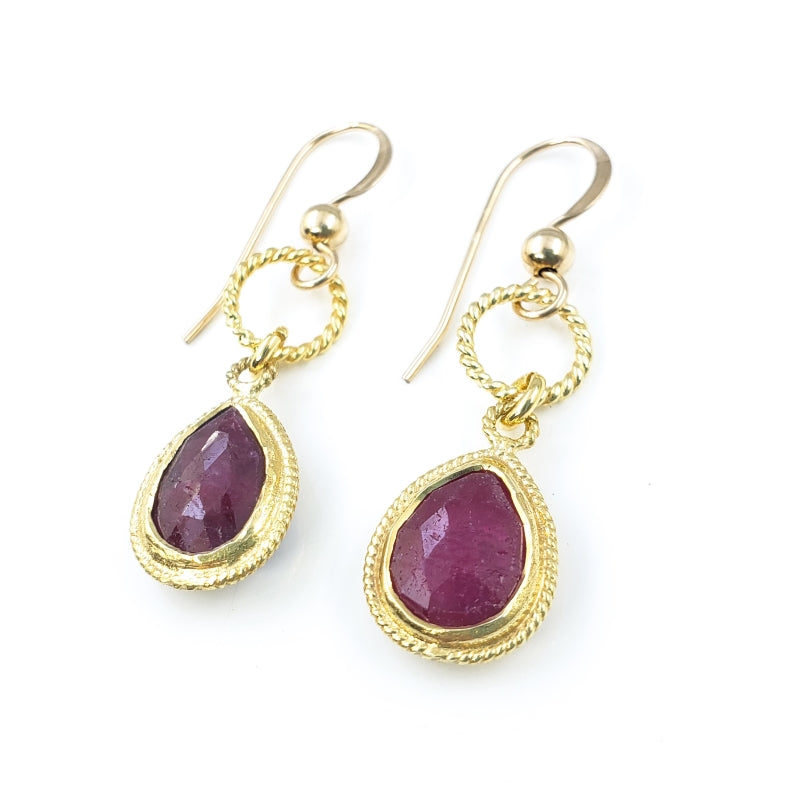 Ruby Gold Textured Droplet Earrings