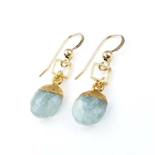 Aventurine Gold Earrings