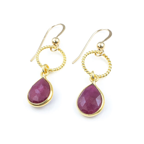 Ruby Gold Droplet Earrings