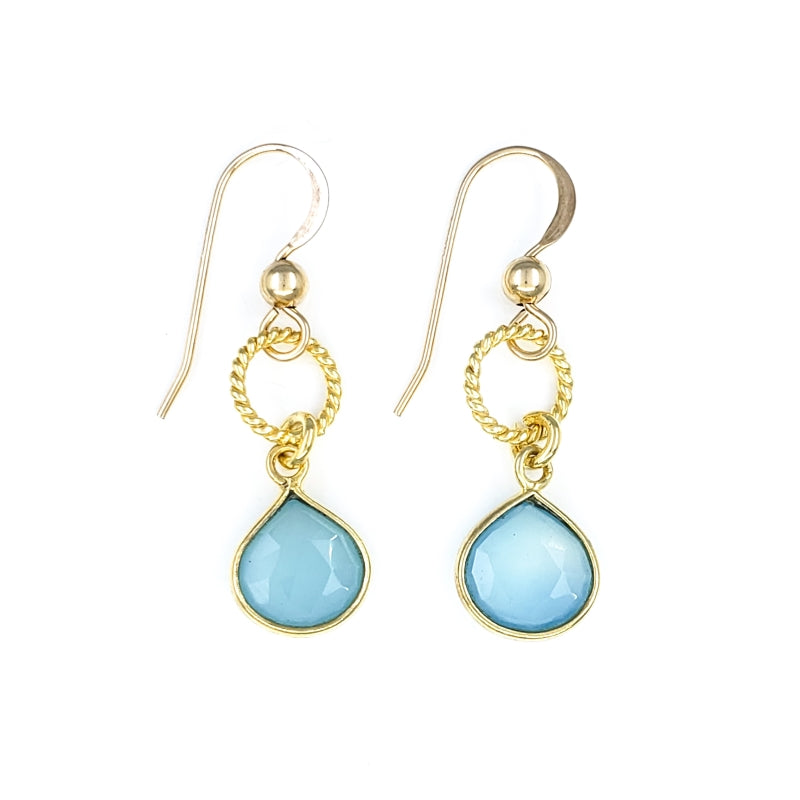 Blue Chalcedony Gold Earrings