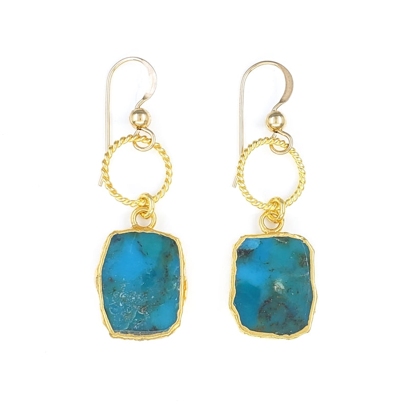 Raw Turquoise Gold Earrings