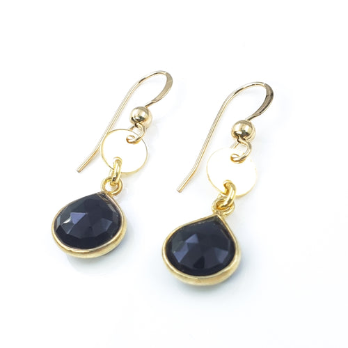 Black Spinel Gold Droplet Earrings