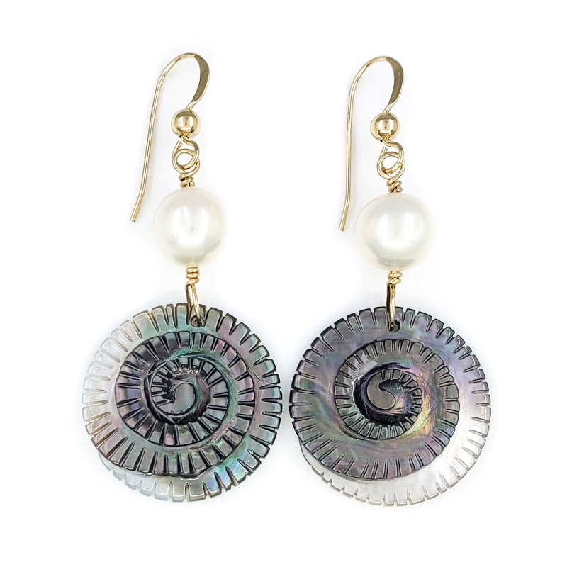 Spiral Tahitian Shell Earrings with White Freshwater Pearls