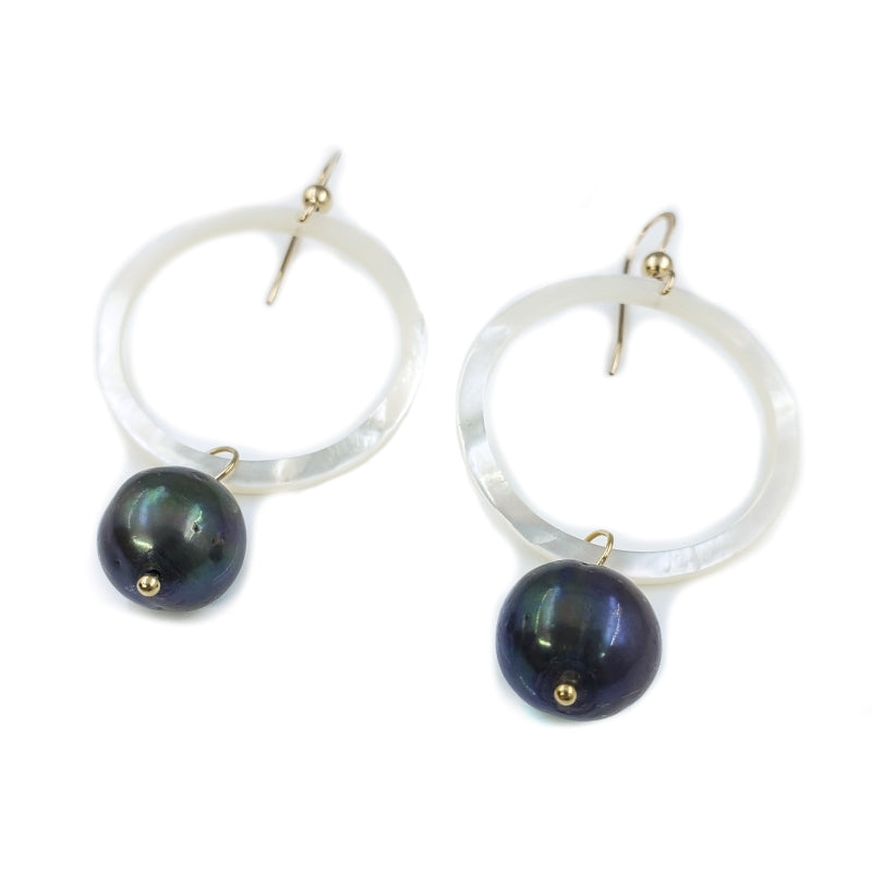 White Mother of Pearl Shell Earrings with Dark Freshwater Pearls