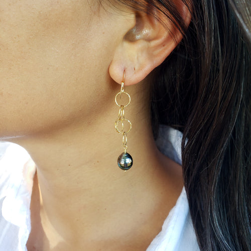 Long Dangly Gold Earrings with Tahitian Pearls