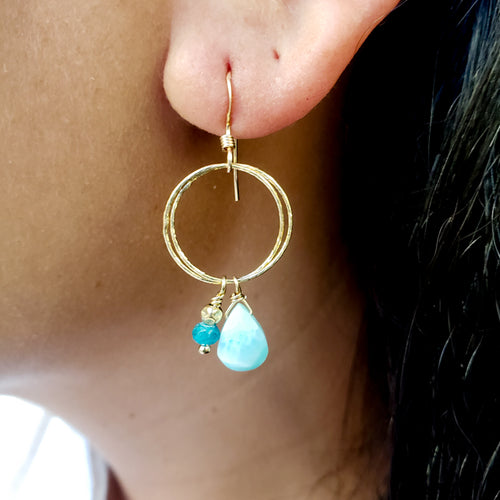 Round Gold Earrings with Larimar and Apatite