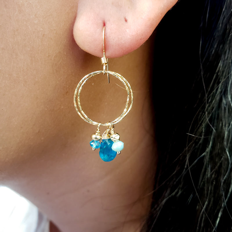 Round Gold Earrings with Apatite and Larimar