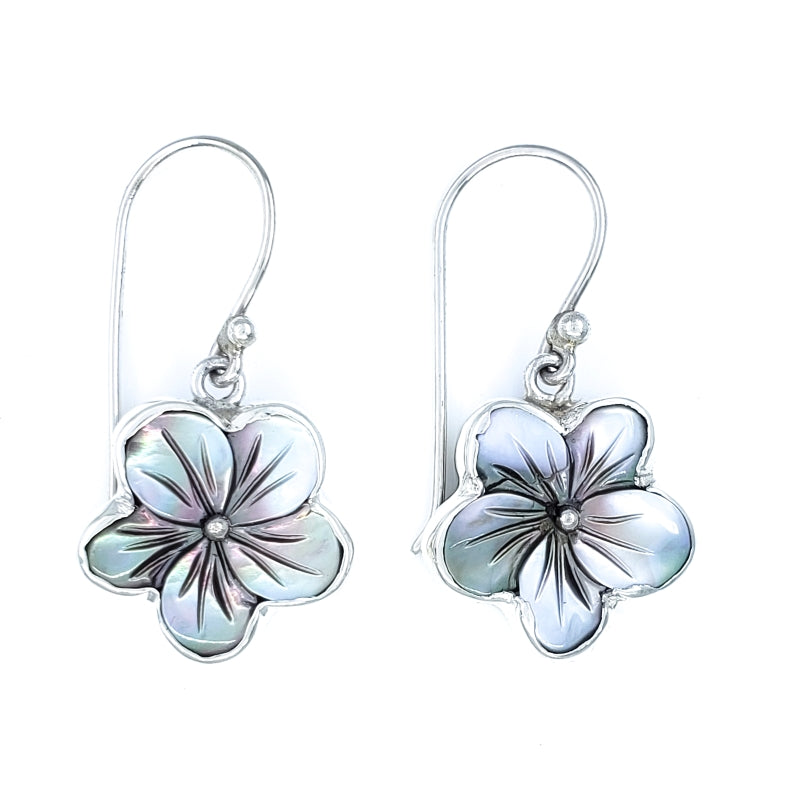 Gray Mother of Pearl Hibiscus Earrings