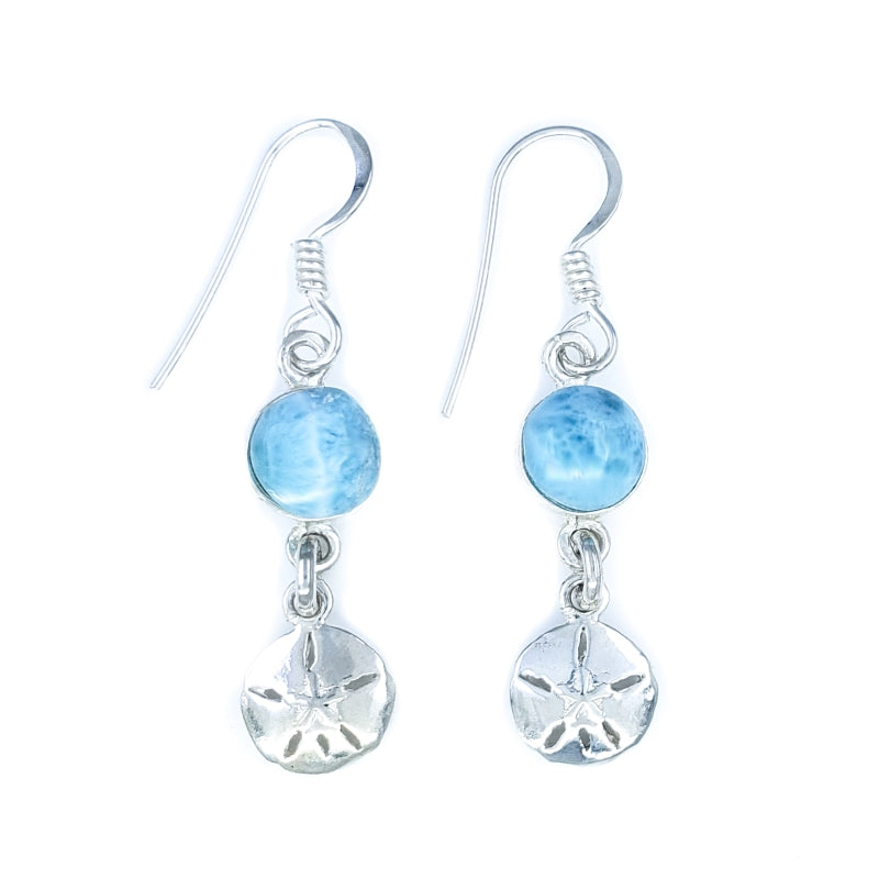 Sterling Silver Sand Dollar Earrings with Larimar