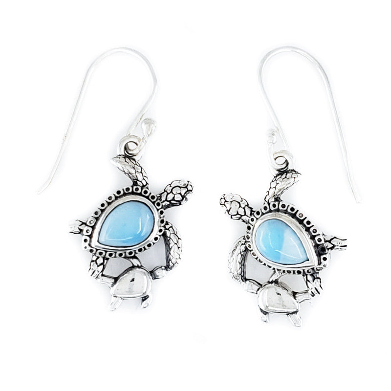 Sterling Silver Turtle Earrings with Larimar