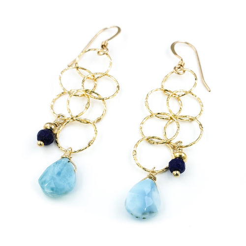 Long Dangly Gold Earrings with Larimar and Lapis