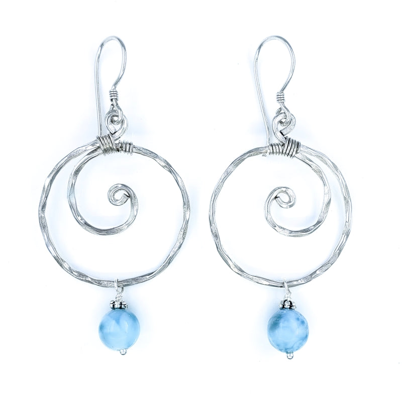 Hammered Sterling Silver Wave Earrings with Larimar