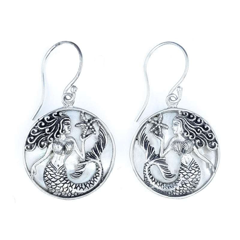 Round Sterling Silver Mermaid Earrings with White Mother of Pearl