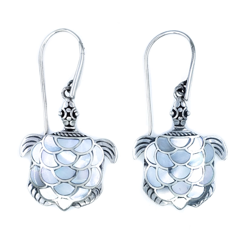 Fancy Large Turtle Earrings with White Mother of Pearl
