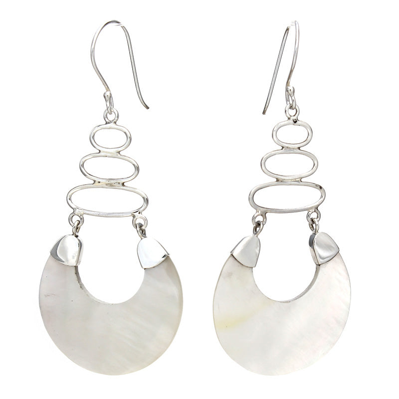 Fancy Long White Mother of Pearl Earrings