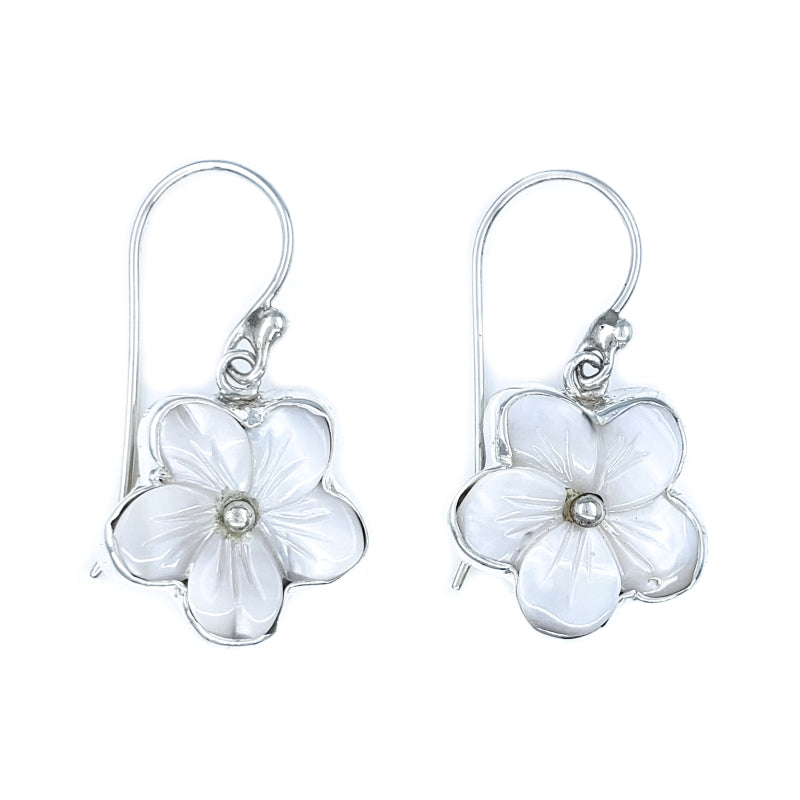 White Mother of Pearl Hibiscus Earrings