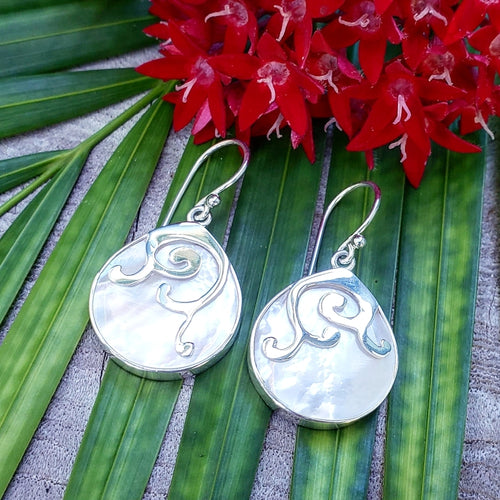 White Mother of Pearl Droplet Earrings with Whale Tails