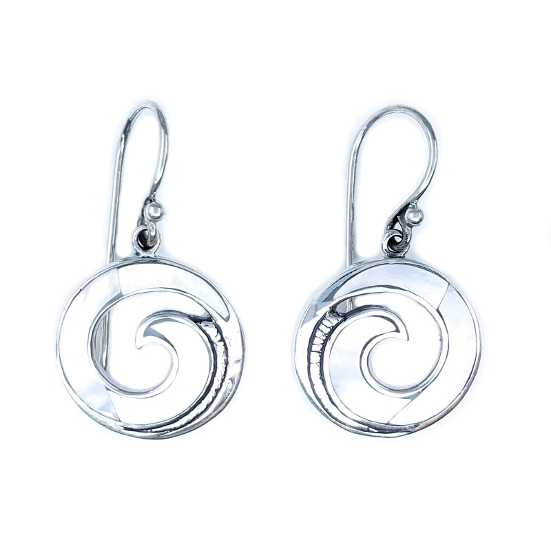 Round Maui Wave Earrings with White Mother of Pearl